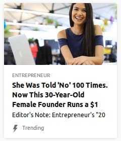 By Entrepreneur. Woman in bizarre shirt with holes it its sleeves @ the shoulder, making her look like she has arm bands, laughing a bit manically in a generic, blurry office.