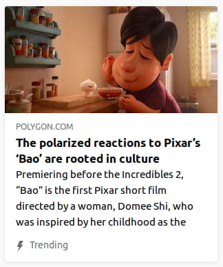 "By Polygon. Screencap o' Bao. ""Premiering before the Incredibles 2, 'Bao' is the first Pixar short film directed by a woman, Domee Shi, who was inspired by her childhood as the"""