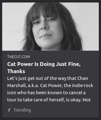 Grayscale photo o' the face o' some random woman. By The Cut. Let's just get out of the way that Chan Marshall, a.k.a. Cat Power, the indie-rock icon who has been known to cancel a tour to take care of herself, is okay. Not.