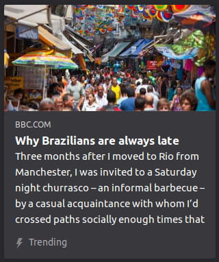 "By BBC. Photo o' colorful cacophony o' busy Brazilian downtown. ""Three months after I moved to Rio from Manchester, I was invited to a Saturday night churrasco — an informal barbecue — by a casual acquaintance with whom I'd crossed paths socially enough times that"""