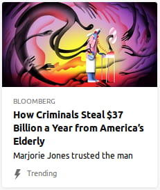 By Bloomberg. Illustration o' an ol' person with a weird-shaped head using a weird sci-fi phone, in a purple-&-yellow gradient void, surrounded by stretchy spirits.