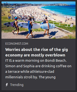 "By the Economist. Photo o' 3 millennial fuckwits walking down a sandy path toward an occupied beach. ""IT IS a warm morning on Bondi Beach. Simon and Sophia are drinking coffee on a terrace while athleisure-clad millennials stroll by. The young"""