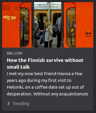 "By BBC. Photo o' a blonde woman standing clinging to a bar on a red subway as its doors are closing. ""I met my now best friend Hanna a few years ago during my first visit to Helsinki, on a coffee date set up out of desperation. Without any acquaintances"""