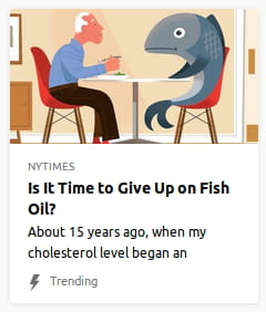 Illustration o' an ol' man with a coffee mug sitting 'cross the table from a bug-eyed fish with a half-smirk, half-frown.