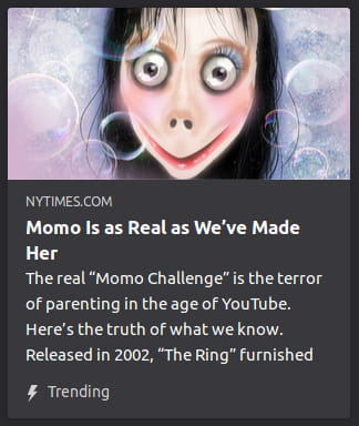"By NYTimes. An illustration o' the Momo meme. The real ""Momo Challenge"" is the terror of parenting in the age of YouTube. Here's the truth of what we know. Released in 2002, ""The Ring"" furnished"