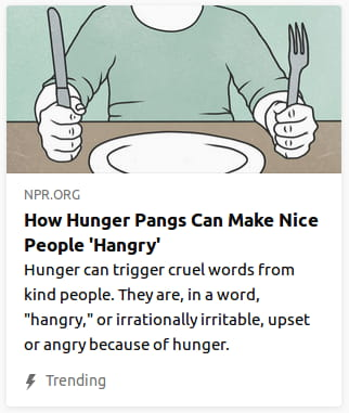 By NPR. Illustration o' a man in a green shirt with a fork & knife held up on the table ( as nobody but children do in real life ) before an empty plate.