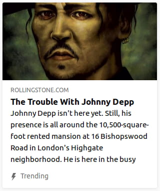 By Rolling Stone. Illustration o' Johnny Depp's face with greasy olive skin, greasy messy hair, & thick lids under his eyes.
