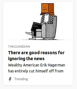 Illustration o' a man sitting on a couch chair wearing a paper bag on his head. By the Guardian. Wealthy American Erik Hagerman has entirely cut himself off from
