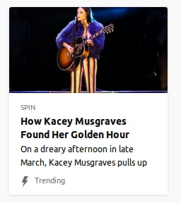 Photo o' a woman in god-damn clown-striped pants holding a guitar. By Spin. On a dreary afternoon in late March, Kacey Musgraves pulls us