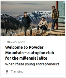 By the Guardian. A bunch o' smarmy-ass fucking millennials lounging in front o' a barn in front o' a mountain in the distance.