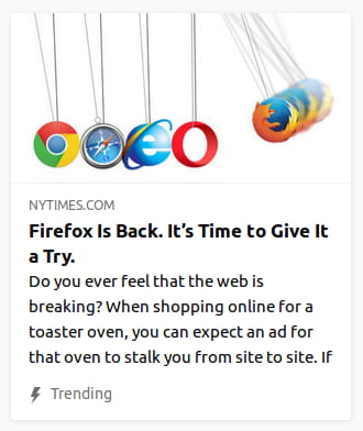 By the New York Times. Illustration o' browser icons on clacker strings with Firefox 'bout to careen into the others.
