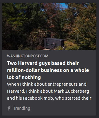 "By Washington Post. Photo o' a tiny gray safe in the middle o' a field o' trees. ""When I think about entrepreneurs and Harvard, I think about Mark Zuckerberg and his Facebook mob, who started their"""