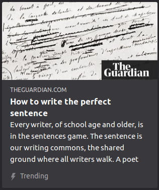 "By The Guardian. Photo zoomed in on paper with cursive writing full o' editing scribbles. ""Every writer, of school age and older, is in the sentences game. The sentence is our writing commons, the shared ground where all writers walk. A poet"""