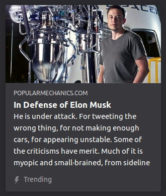 "By Popular Mechanics. Photo o' Musk next to some beaker thing. ""He is under attack. For tweeting the wrong thing, for not making enough cars, for appearing unstable. Some of the criticisms have merit. Much of it is myopic and small-brained, from sideline"""