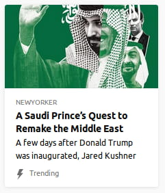 By New Yorker. Photo collage o' Saudi Prince with his hand held up merged with 2 other randos — I think the whitey @ the top is Jared Kushner. All is in black & white & deep green.