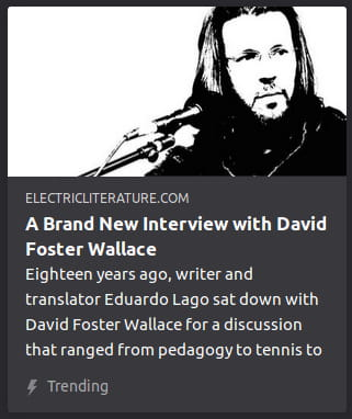 "By Electric Literature. Photo o' David Foster Wallace standing in front o' a microphone podium with his head turned 'way toward something offscreen put through a threshold black-&-white Photoshop filter. ""Eighteen years ago, writer and translator Eduardo Lago sat down with David Foster Wallace for a discussion that ranged from pedagogy to teniis to"""