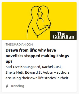 By the Guardian. Illustration o' a line-art person with their face literally in 'nother, bodyless, person's face, all in front o' a yellow void.