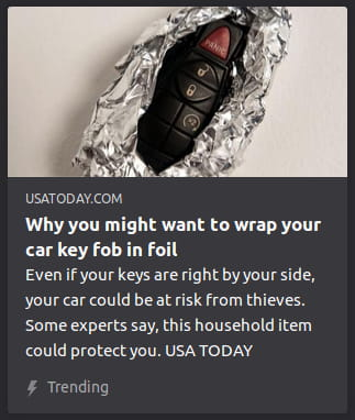 By USA Today. Photo o', well, a car key fob wrapped in foil.