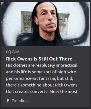 Presumably Rick Owens twisting his face alien-like in front o' what looks like a spiraling black centipede.