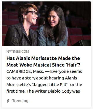 "By NYTimes. CAMBRIDGE, Mass. — Everyone seems to have a story about hearing Alanis Morisette's ""Jagged Little Pill"" for the first time. The writer Diablo Cody"