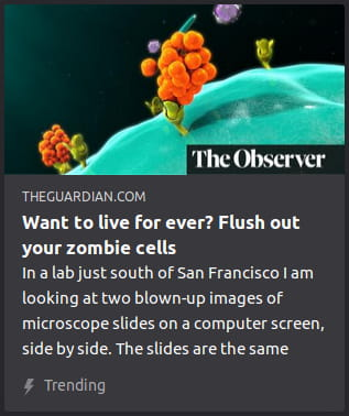 By The Guardian. Image is a strange 3D graphic o' a corner o' a blobby liquidlike teal sphere with what look like a few orange grape bunches sprouting out from it. Look, it's The Guardian — you know their graphic artist was stoned when he made this.