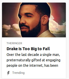 By The Ringer. Photo o' Drake's giant head in presumably heaven with an angelic glow.