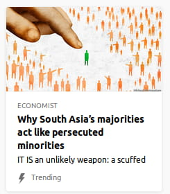 By Economist. Illustration o' a giant finger pointing out a single green stick figure surrounded by orange figures.